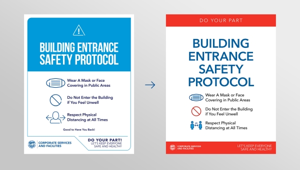 graphic showing two different versions of back-to-work safety signage with the same message, before and after applying recommendations from BVA Nudge Unit