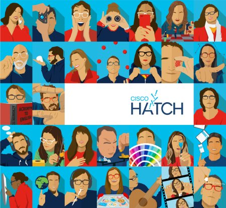 illustration collage of Cisco's The Hatch, IHAF's 2020 In-House Agency of the Year